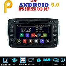 Android 9.0 GPS DVD USB SD WiFi Bluetooth Radio 2 DIN Navegador Compatible con Mercedes Clase C W203, Clase CLK W209, Clase A W168, Clase G W463, Clase E W210, Vito/Viano