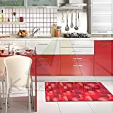 Catral 40020032 Alfombra Cocina y Pasillo Cuadros, Poliester y Caucho, Rojo, 50 x 90 cm