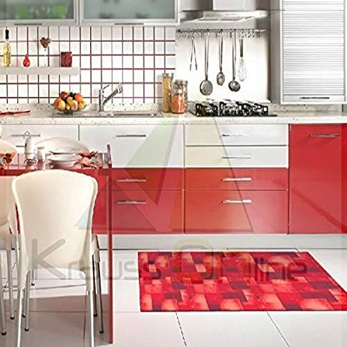 Catral 40020032 Tapis de Cuisine et de Couloir Motif carrés Polyester et Caoutchouc Rouge 50 x 90 cm