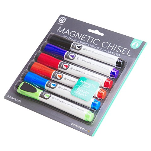 U Brands Low Odor Magnetic Dry Erase Markers With Erasers, Chisel Tip, 6-Count (Assorted Colors) Photo #3