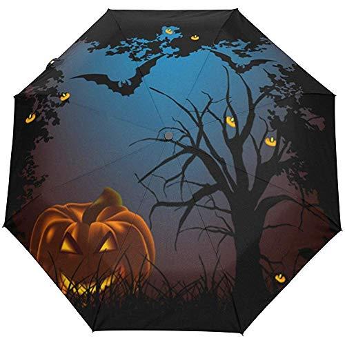 Weinlese-glückliches Halloween-gespenstischer Kürbis Forest Auto Open Close Sun-Regen-Regenschirm