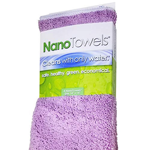 Life Miracle Nano Towels - Amazing Eco Fabric That Cleans Virtually Any Surface with Only Water. No More Paper Towels Or Toxic Chemicals. (Lavender)