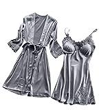 Dorical Damen 2pcs Dessous Die Seide Spitze Robe Kleid Puppe Nachthemd Nachtwäsche Kimono Einstellen Sexy Sling Nachthemd Nachtwäsche Seide Spitze Kleid Babydoll Nachthemd(Grau-1,Medium)