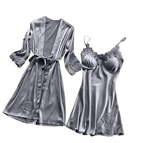 AIni Pijamas Encaje Traje De Dos Piezas De CamisóN Y Kimono Bata De Bano Encaje Batas De Casa con Escote De Seda Ropa De Dormir Albornoz Dama De Honor De La Novia