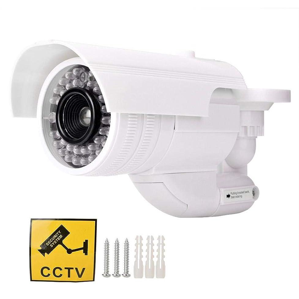 疑い添加スタジアム偽カメラ ダミーカメラ 内部点滅LED付き、回転可能、防水保証 セキュリティダミーカメラ 屋内/屋外