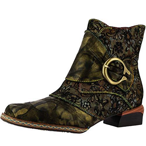 Laura Vita SL16836-3 Gaclono 03 Damen Ankle Boots Stiefeletten, Größe:38 EU, Farbe:Grün
