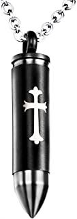 Bullet Cross Cremation Jewelry Urn Necklace for Ashes Stainless Steel Memorial Urn Pendant for Men