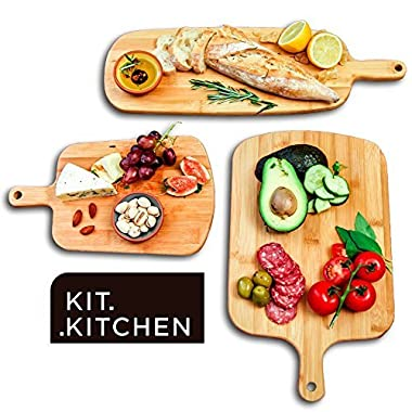 [2018 NEW RELEASE] KIT KITCHEN Exclusive Chef's Edition Cutting Boards - 100% Organic Set of 3 Pieces for Chopping & Serving - Antibacterial & Easy Washing for Home