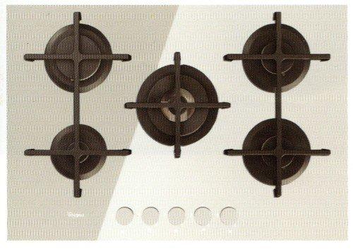 Whirlpool Goa 7523/WH Plaque – Plaque (intégré, gaz, verre, rotatif, partie supérieure avant, 73 cm) couleur blanc