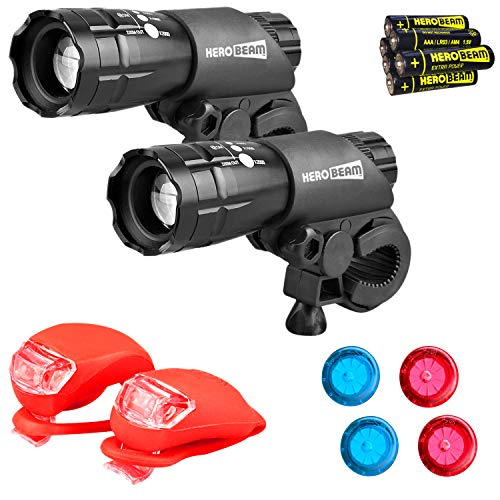 HeroBeam Double Bike Lights Set - The Ultimate Lighting and Safety Pack of Super Bright Front Bicycle Lights, Rear Lights and Wheel Lights - INCLUDES ALL BATTERIES - UK COMPANY & 5 YEAR WARRANTY