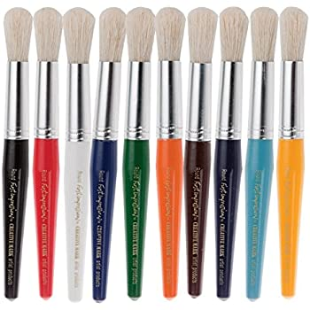 Set of 30-76182 Creativity Street Chubby White Bristle Easy Grip Plastic Handle Paint Brush Set Multiple Color 1//2 X 7 in