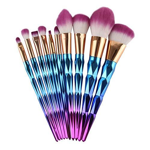 10 pièces en bois Blending Poignée haute Endy Fond de teint Sourcils Eyeliner fard à joues cosmétiques Brosses Outils Correcteur Matériel fiable (Handle Color : 9PCS)