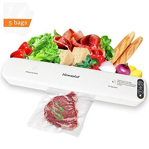 Homeslct Macchina Sottovuoto Professionale per Alimenti, Sigillatore Sottovuoto con 1 Tubo Accessorio e 5pz Sacchetti Sottovuoto per Alimenti