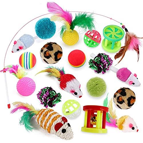 Katzenspielzeug für Haustiere, Mausform, Bälle in Mausform, 21 Stück, Katzenspielzeug, Katzenspielzeug, Katzenspielzeug, Mauszubehör, Vorteilspaket (Farbe: 20 Katzenspielzeug)