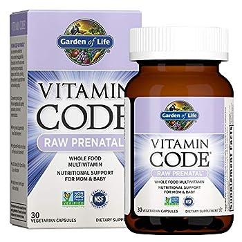 Garden of Life Vitamin Code Raw Prenatal Multivitamin Whole Food Prenatal Vitamins with Iron Folate not Folic Acid Best Vegetarian Gluten Free Prenatals for Women 30 Capsules