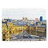 Francia Museo del Louvre París Rompecabezas para Adultos, 500 Piezas de Madera, Regalo de Viaje, Recuerdo, 20.4 x 15 Pulgadas