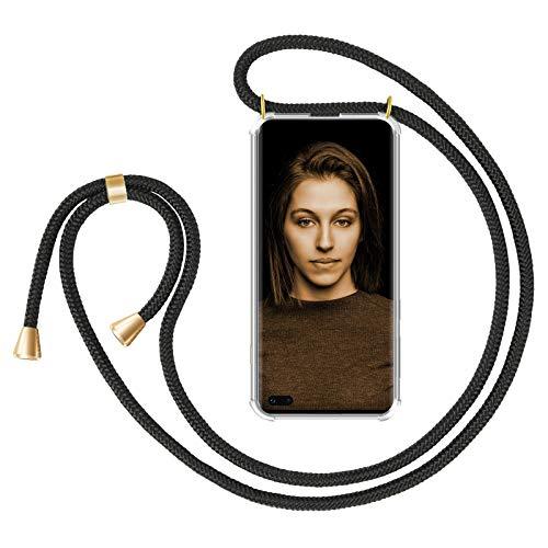 Zhinkarts Collana Porta Cellulare Compatibile con Samsung Galaxy S10 - Custodia da Collo per Smartphone, Nastro - Cover con Cordoncino da Indossare - Nero/Oro