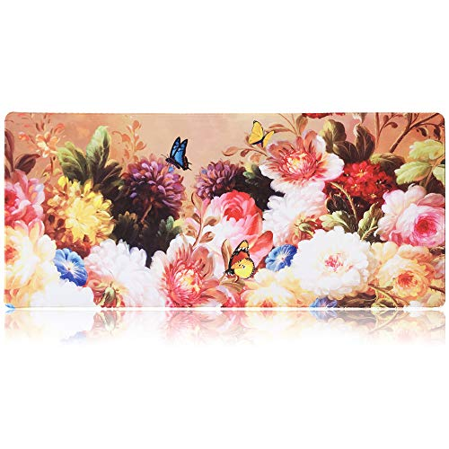 Extended Gaming Mouse Pad Mat XXXL 35.4'x15.7'x0.16'(4mm Ultra Thick), Extra Large Office Desk Mat, Floral Design, Stitched Edges, Waterproof, Heavy Duty Mousepad, Flowers