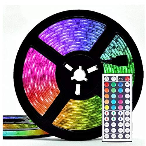 Lsooyys Tira de luz LED con control inteligente 5M12V impermeable RGB cambio de color tira con control remoto y caja de control, adecuado para casa/dormitorio/fiesta