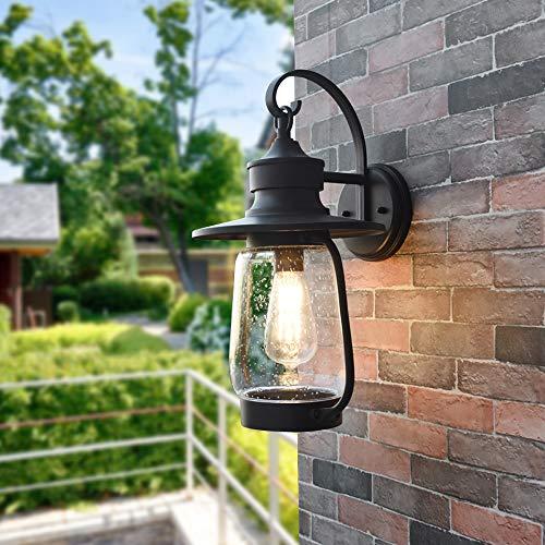YBright Luces de pared negras al aire libre linterna impermeable tradicional exterior de iluminación de la pared de la pared de aluminio E27 Luz de pared Burbuja Lámpara de sombra de vidrio para patio