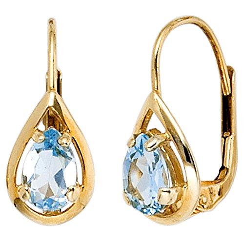 JOBO Damen-Ohrhänger aus 333 Gold mit Blautopas Tropfen