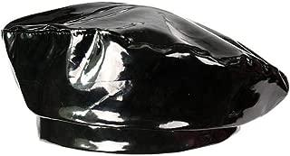 NEW Fashion Patent Leather Beret Ladies Hats Solid Color Flat Top Hat PU Slouchy Bone Captain Cap Women Female Black