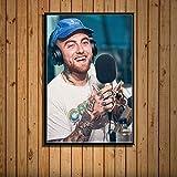 zhuifengshaonian Mac Miller Rap Hip Hop música Estrella Cantante Arte Pintura Lienzo póster Pared decoración del hogar Obra de Arte(ZE-720) Sin Marco Poster 40x60cm