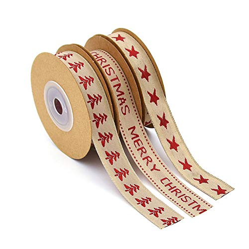 Weihnachtsband, 3 Rollen Weihnachtsbaumsternbänder mit den Worten Frohe Weihnachten Rot Grün Satinband für DIY Bastelgeschenke Dekoration Geschenkverpackung