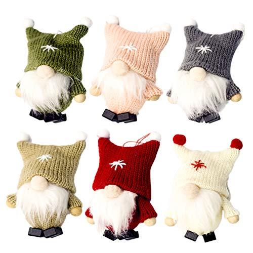 Happyyami Natale Bambola GNOME Natale Bambola Lana Figurine da Elfo Natale Decorazioni di Natale Albero di Natale Appeso Ornamento Colore Casuale Rosa Verde Beige Grigio Cachi