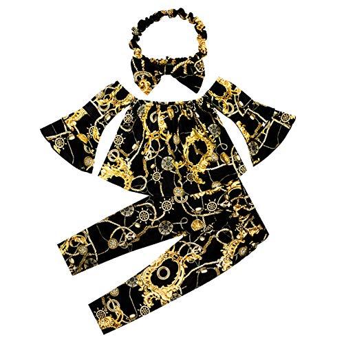 Hatian Conjunto de ropa para bebés y niñas de manga larga + pantalones de campana inferiores ropa de otoño - - 120 cm