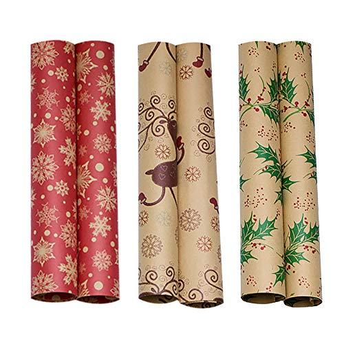 Kuailema 3 Rollen Geschenkpapier 35 * 8 umweltfreundliches Doppel-Origami-Geschenkpapier mit exquisitem Musterdruck Geschenkpapier Geschenkpapier Dekorpapier (A)