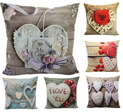 Montanchezz - Set di 6 federe per cuscino, 45 x 45 cm, stampa digitale, texture setosa, stile moderno, Throw Pillow Case, Unisex - Adulto, Cuori