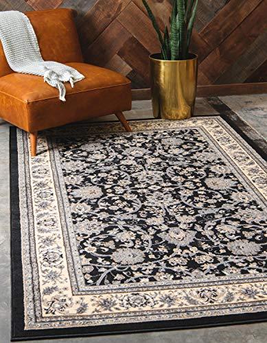 Unique Loom Kashan Collection Teppich, traditionelles Blumenmuster, mit Bordüre, 152 x 223 cm, Schwarz