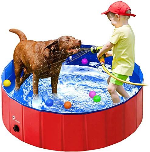 Pidsen Hundepool Swimmingpool PVC tragbare Faltbare Hunde Katzen Bad Wanne Badewanne Waschbad Haustier Schwimmbad Wasser Teich (80 * 20cm, Rot)
