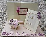 Regalo de Comunión niña con Libro de firmas hecho a mano y personalizado con un cerdito hucha y un marco decorado a mano a juego 1