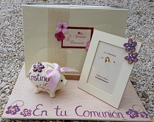LyL Creaciones Regalo de Comunión niña Personalizado con Libro de firmas Personalizado, un Marco 10x15cm y un Cerdito Hucha