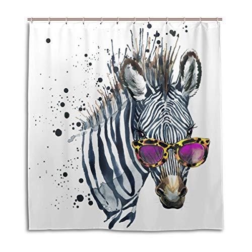 CPYang Duschvorhänge, Aquarell, Tiere, Zebra, wasserdicht, schimmelresistent, 168 x 182 cm, mit 12 Haken