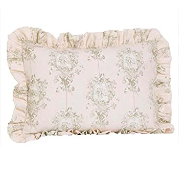 Cotton Tale Designs 100% Cotton Pink Cream/Off White Tan Floral Angel Toile Lollipops & Roses Standard Ruffled Pillow Sham - Girl - Pillow Cover