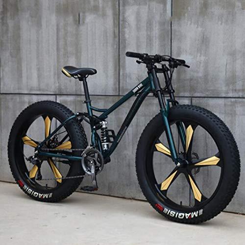 Langlin Mountain Bike Speed Bike da 26 Pollici 7/21/24/27 Telaio in Acciaio ad Alto tenore di Carbonio Sistema di Freno a Doppio Disco Bicicletta da Montagna per Uomo Fat Tire,Cyan,7 Speed