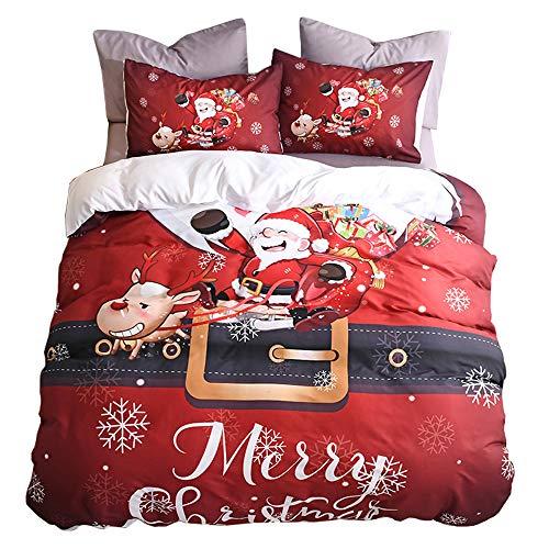 Oldbiao, set di biancheria da letto natalizio, copripiumino rosso 220x240 cm + federa 50x75 cm, per letto matrimoniale