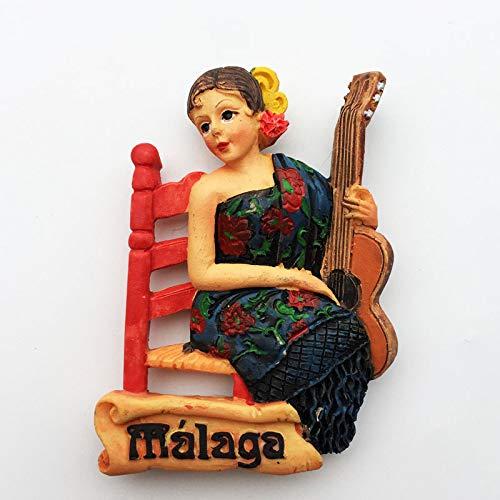 shenlanyu Imanes de nevera imán España Málaga Andalucía Guitarra chica recuerdo decoración magnética pegatina pasta colorida delicada belleza chica como