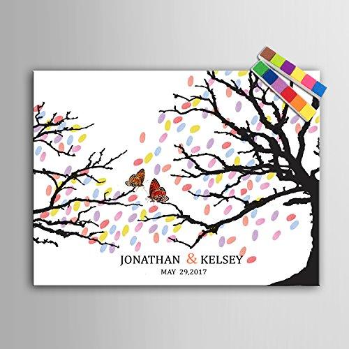 Lienzo con diseño de una mariposa en una rama para firmas y...