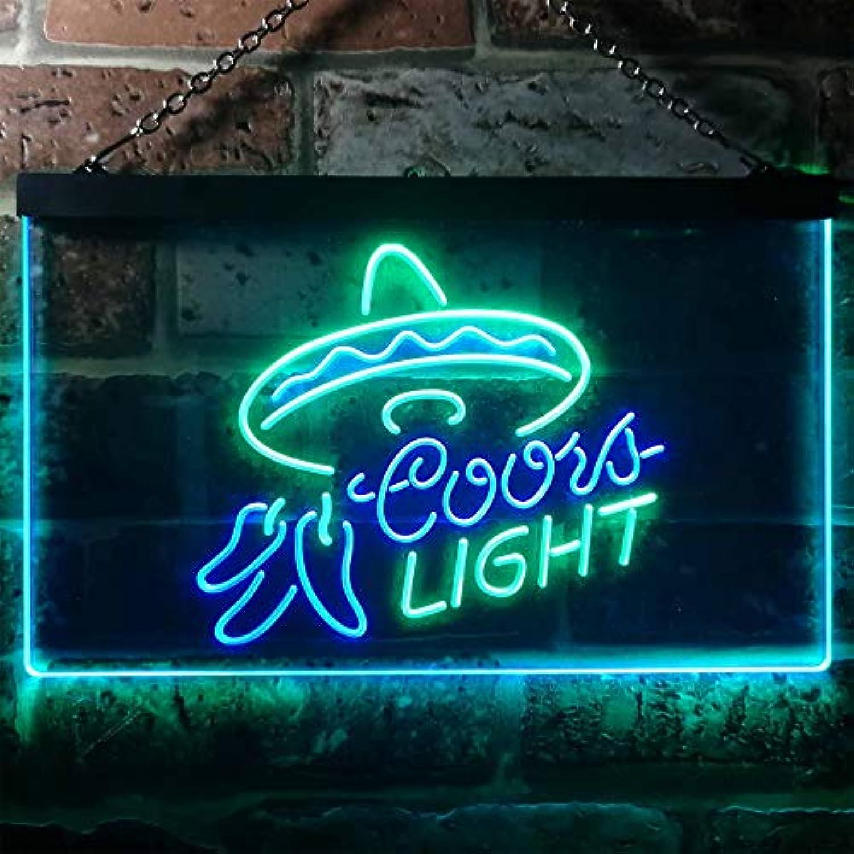 Zusme Coors Light Mexican Hat Novelty LED Neon Sign Grün + Blau W40cm x H30cm