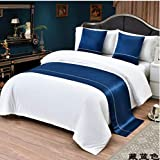 ybbed Bed Runner Runners Scarf Bed Towel and Towel Decoration European-Style Luxury Home Hotel Bed Flag Bed End Towel Simple Modern Homestay Beauty-Dark Blue_2 Meters Bed with 50260
