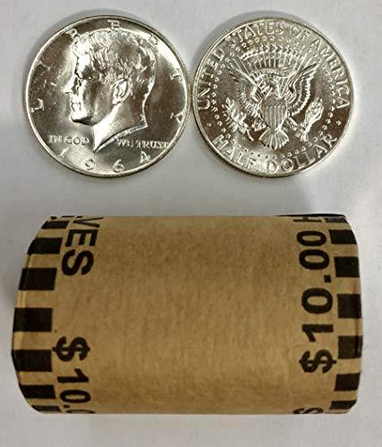 1964 P & D Roll of 20 ($10 Face) 90% Silver Kennedy Half Dollar Bankroll Brilliant Uncirculated