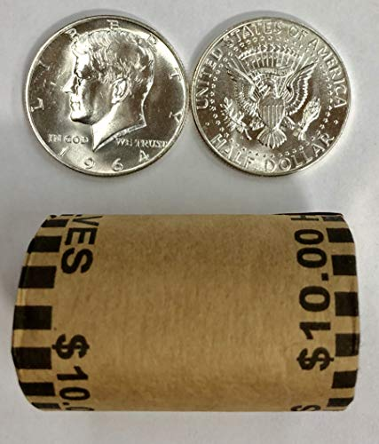 1964 P & D Roll of 20 ($10 Face) 90% Silver Kennedy Half Dollar Bankroll Brilliant Uncirculated