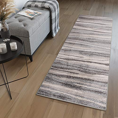 TAPISO Sari Teppich Läufer Meterware Wohnzimmer Schlafzimmer Küche Flur Brücke nach Maß Grau Beige Vintage Streifen Verwischt ÖKOTEX 100 x 800 cm