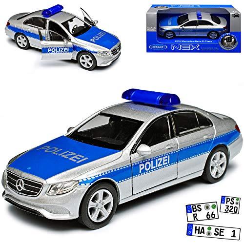 Mercedes-Benz E-Klasse W213 Polizei Limousine Silber Blau Ab 2016 ca 1/43 1/36-1/46 Welly Modell Auto
