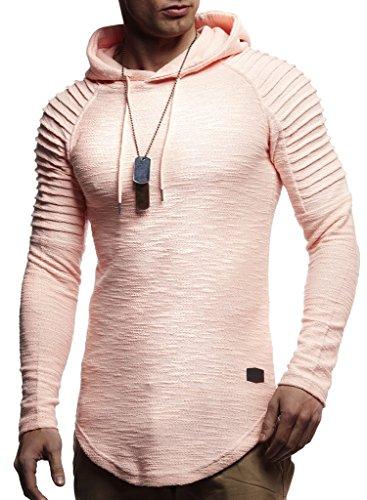 Leif Nelson Herren Kapuzenpullover Slim Fit Baumwolle-Anteil Moderner weißer Herren Hoodie-Sweatshirt-Pulli Langarm Herren schwarzer Pullover-Shirt mit Kapuze LN8128 Lachsrosa Large