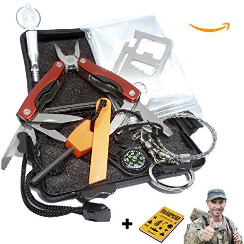 avstar™ Kit de Supervivencia y Emergencia Profesional, 20 Funciones, excursiones acampadas y Caminatas seguras: Silbato Cuchillo Manta Sierra Herramientas yesca pedernal brújula - Imprescindible